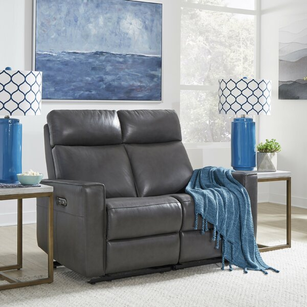 Dashing Style Pell Leather Reclining Loveseat by Latitude Run by Latitude Run