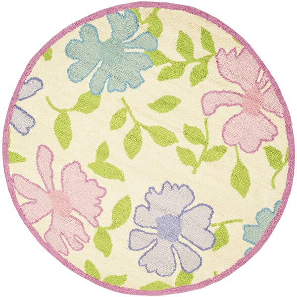 Claro Pink Flower Area Rug by Harriet Bee