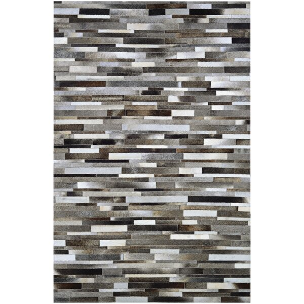 Ashlie Flat woven Cowhide Gray/Black Area Rug by Union Rustic