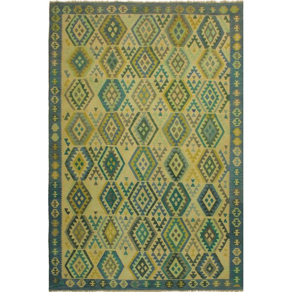 One-of-a-Kind Jorge Handmade Kilim Wool Light Green/Blue Area Rug by Isabelline