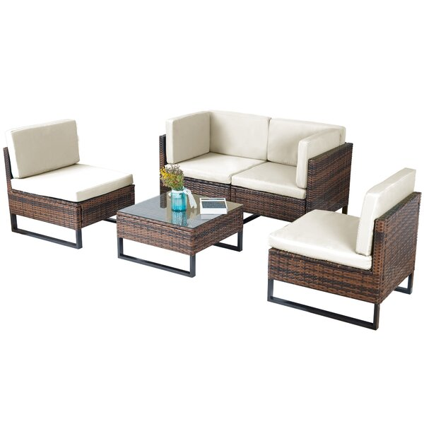 Hadfield 5 Piece Rattan Sofa Seating Group with Cushions by Brayden Studio