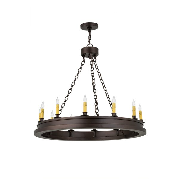 Tawney 12 - Light Candle Style Wagon Wheel Chandelier by Canora Grey Canora Grey
