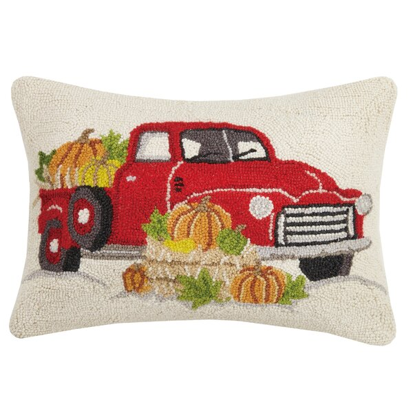 Murrah Truck Pumpkins Wool Throw Pillow by August Grove