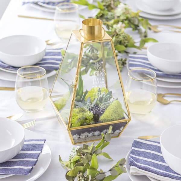 Personalized Gold Glass Terrarium by Cathys Concepts