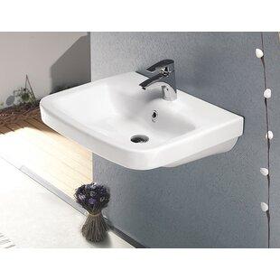 Affordable Noura Plus Ceramic Rectangular Drop-In Bathroom Sink with Overflow ByCeraStyle by Nameeks