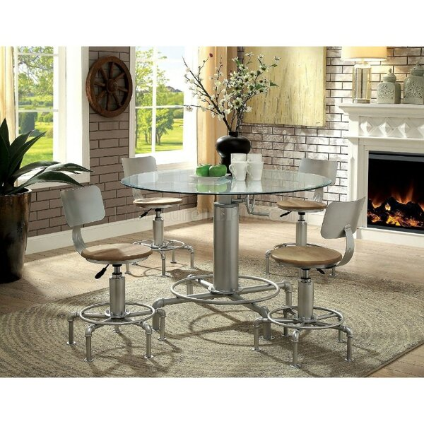 Matlock Industrial Round 5 Piece Pub Table Set by Williston Forge