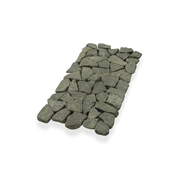 "Border Interlock 6 x 11 3/4"" Natural Stone Pebbles/Rocks Tile in Gray/Black by Pebble Tile"