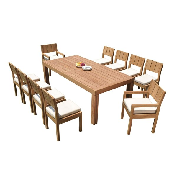 Lysette 11 Piece Teak Dining Set By Rosecliff Heights