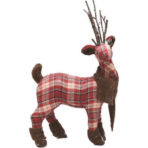 Plaid Reindeer with Scarf Table Top Christmas Figu