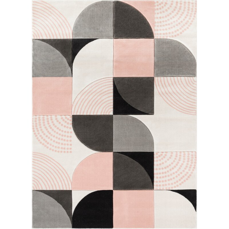 Well Woven Good Vibes Margot Modern Geometric Chevron Blush Pink