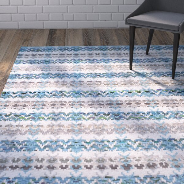 Ingleside Hand-Woven Aqua/Gray Area Rug by Wrought Studio