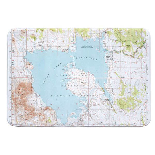 Nautical Chart Clear Lake Reservoir CA (1951) Rectangle Memory Foam Non-Slip Bath Rug