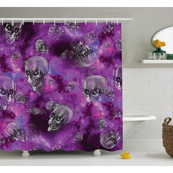 Violet Shower Curtain Swirling Flowers Wild Print for Bathroom