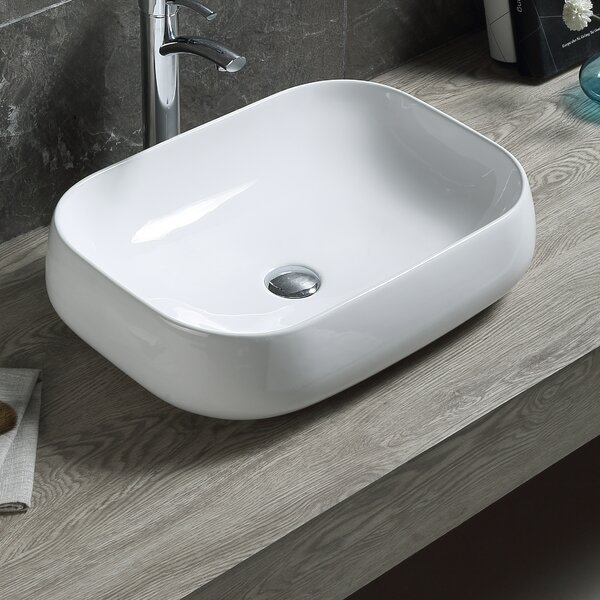 Modern Ceramic Oval Vessel Bathroom Sink with Overflow by Hometure
