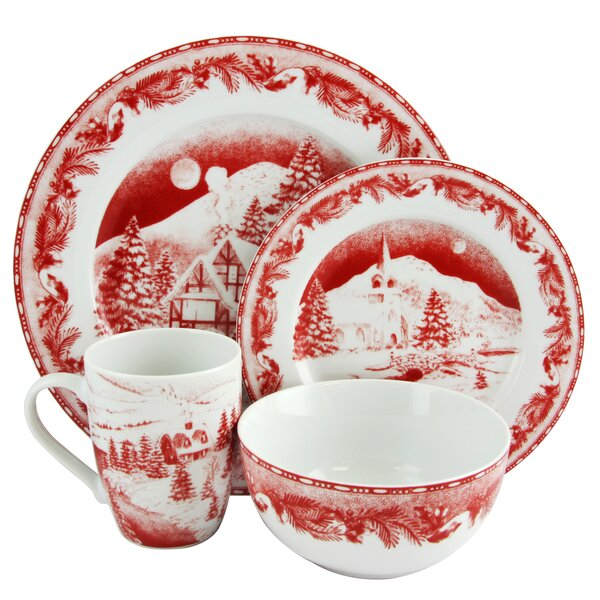 Draper Winter Decorated 16 Piece Dinnerware Set, Service for 4 by The Holiday Aisle