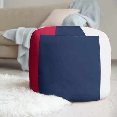 """East Urban Home 20.5"""" Round Pouf  Fabric: Red/Navy Blue/White"""