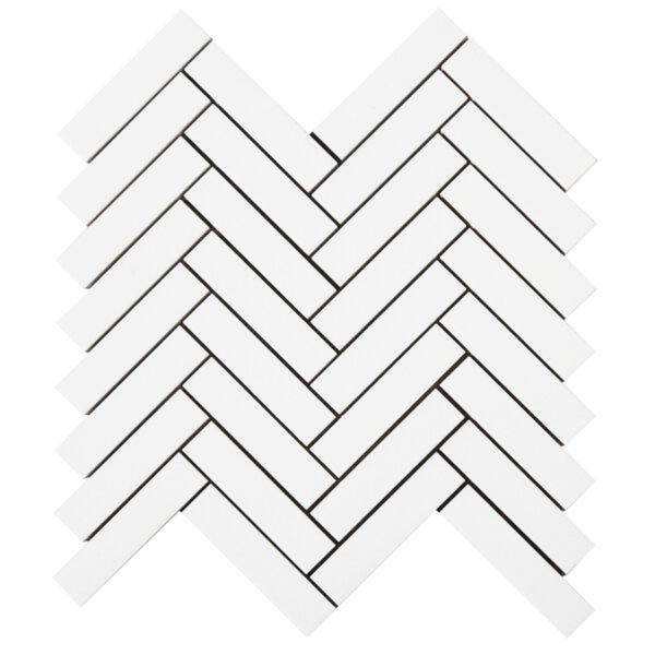 Herringbone 1'' x 4'' Glass Mosaic Tile in White by Lion Tiles