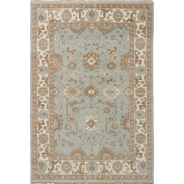 One-of-a-Kind Doggett Hand Knotted Wool Light Blue Area Rug by Isabelline