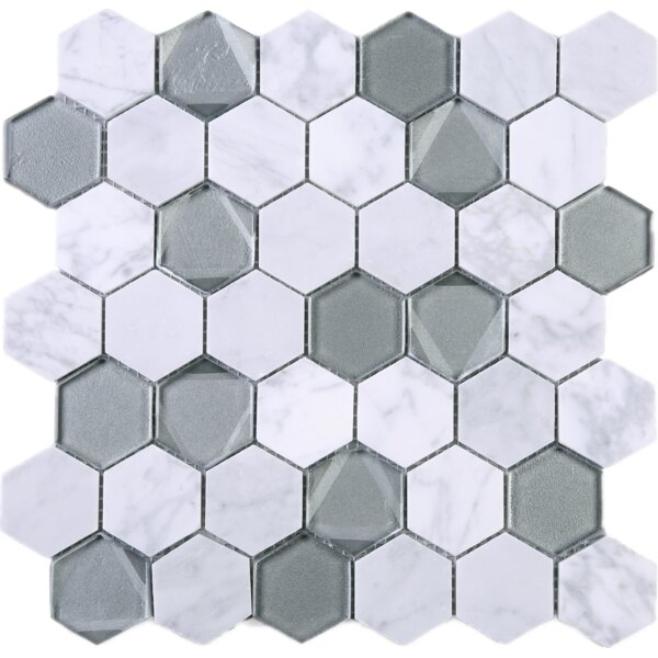 Hexagon 2 x 2 Marble Mosaic Tile in White/Gray by Multile