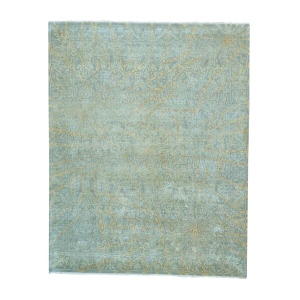 One-of-a-Kind Fuiloro Transitional Agra Modern Hand-Knotted Green Area Rug by World Menagerie