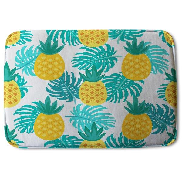 Vermehr Pineapples Designer Rectangle Non-Slip Bath Rug