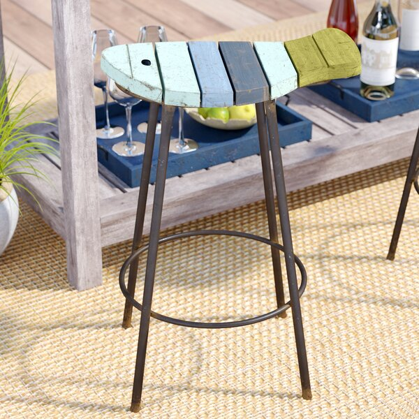 Burkhardt Painted Wood and Metal Fish Patio Bar Stool by Highland Dunes