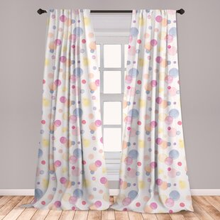 Ambesonne Pastel Curtains, Big And Small Watercolor Spots Dots Romantic And  Abstract Teenage Girls Pattern, Window Treatments 2 Panel Set For Living ...