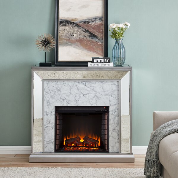 Trandling Mirrored Faux Marble Electric Fireplace By Mercer41