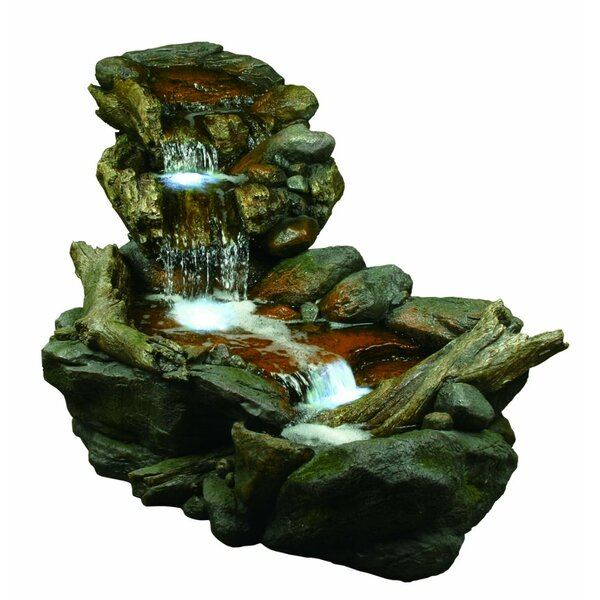 Fiberglass 3 Tier Rainforest Fountain with Light by Benzara