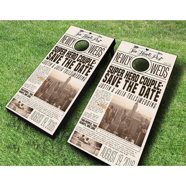10 Piece Newspaper Print Wedding Cornhole Set by AJJ Cornhole