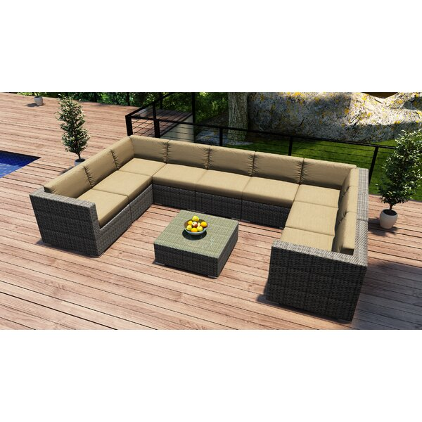 Hobbs 10 Piece Sectional Set with Cushions by Rosecliff Heights Rosecliff Heights
