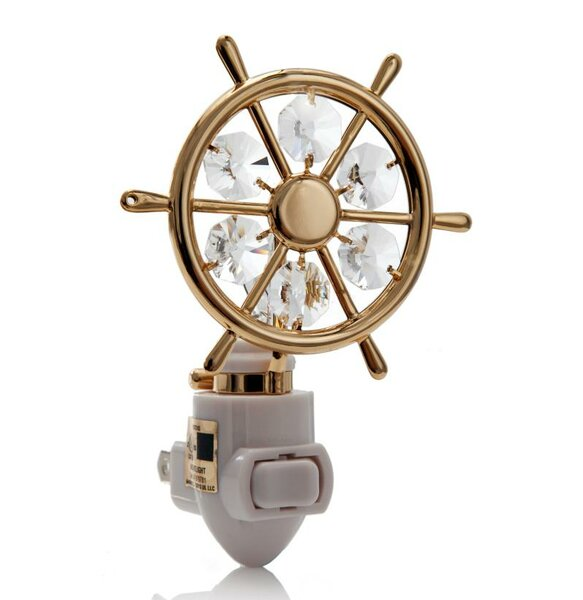 24K Gold Plated Captains Wheel Night Light by Matashi Crystal