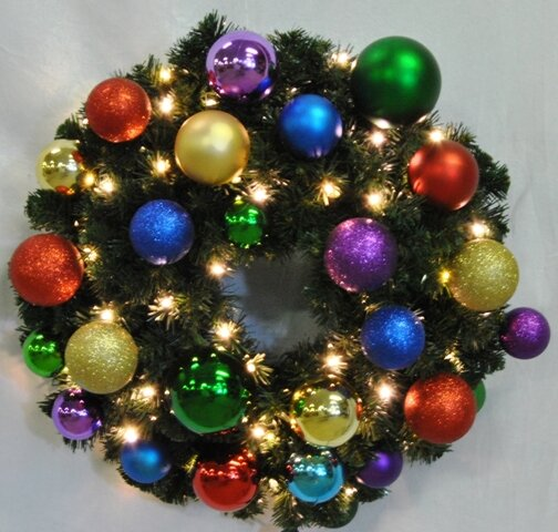 Pre-Lit Blended Pine Wreath Decorated with Royal Ornament by Queens of Christmas