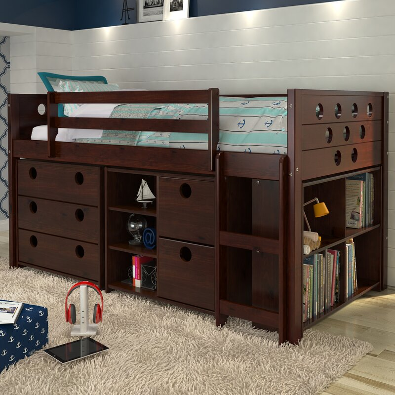 buy online 011e5 f2ed1 Abey Circles Twin Loft Bed with Storage and Bookcase