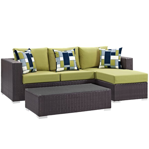Brentwood 3 Piece Rattan Sectional Seating Group With Cushions By Sol 72 Outdoor by Sol 72 Outdoor No Copoun
