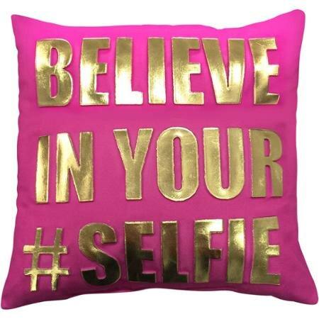 Palu Believe in Your Selfie Throw Pillow by Wrought Studio