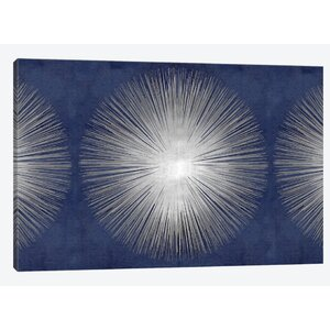Silver Sunburst on Blue III Graphic Art on Wrapped Canvas by East Urban Home