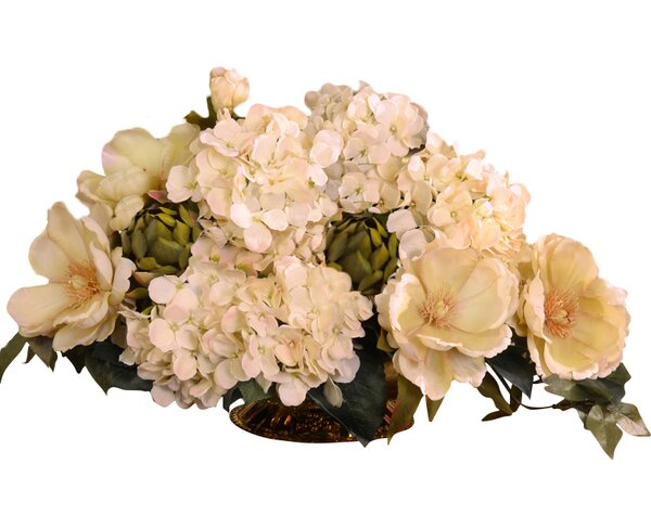 Magnolia and Hydrangea Silk Floral Centerpiece by