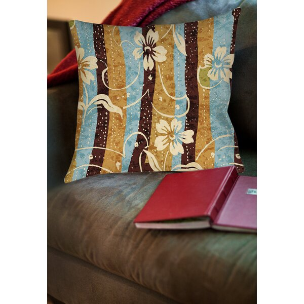 Floral Study in Stripes Printed Throw Pillow by Manual Woodworkers & Weavers
