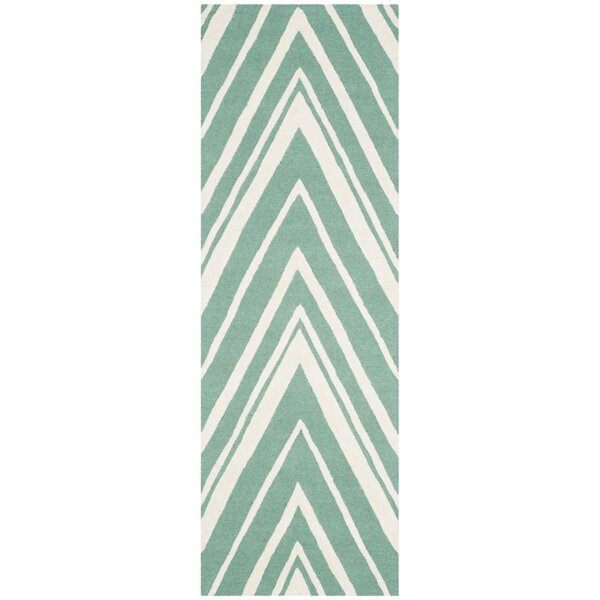 Martins Hand-Tufted Teal/Ivory Area Rug by Wrought Studio