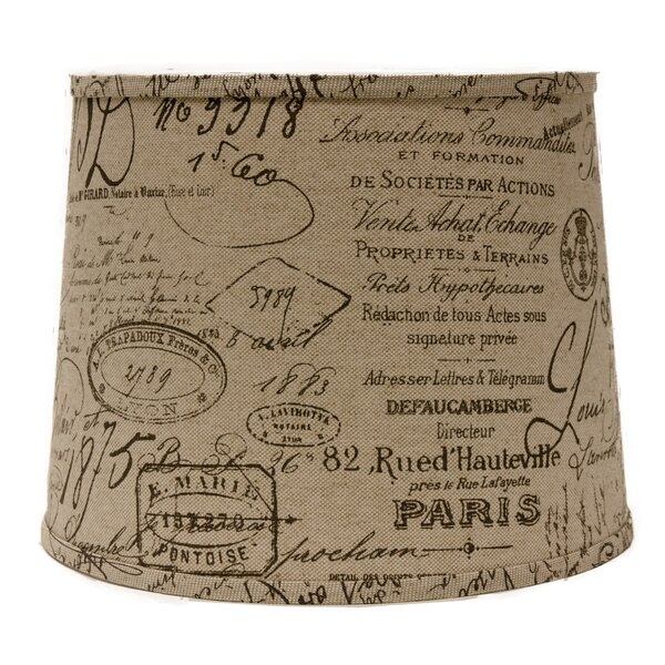 French Script 14 Linen Drum Lamp Shade by AHS Lighting
