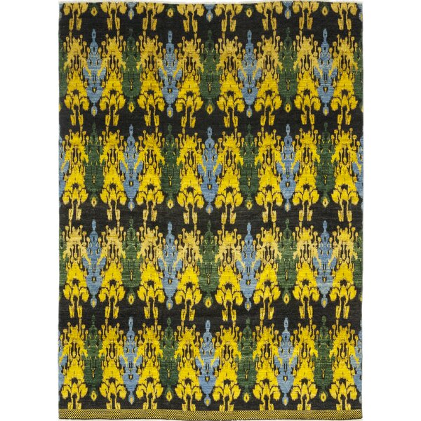One-of-a-Kind Tyrianne Hand-Knotted Wool Black/Yellow Indoor Area Rug by Brayden Studio