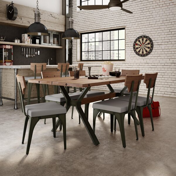 Darcelle 5 Piece Metal and Wood Dining Set by 17 Stories