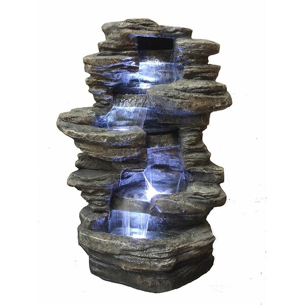 Resin Decorative Fengshui Waterfall Fountain with LED Light by Major-Q