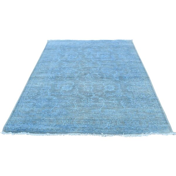 One-of-a-Kind Bagby Cast Overdyed Hand-Knotted Blue Area Rug by Isabelline