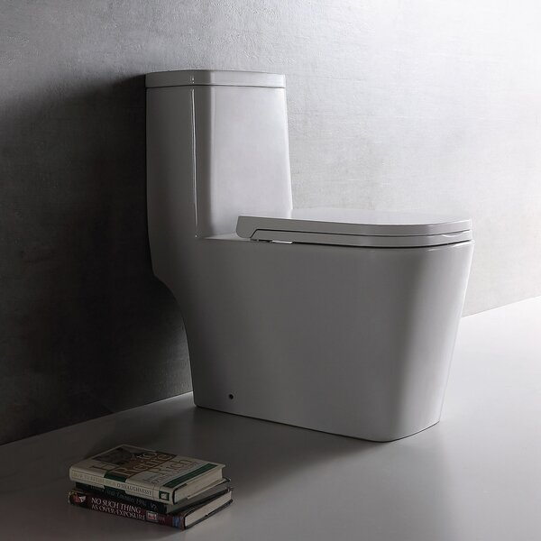 Dual Top-Mount Flush 1.28 GPF Elongated One-Piece Toilet by Jade Bath