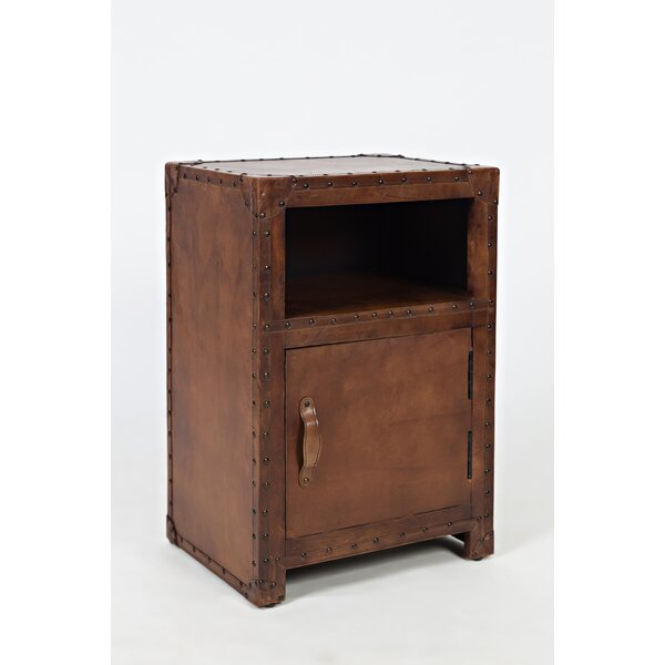 Manila Leather Accent Table by World Menagerie