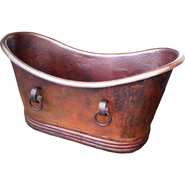 Isabella Copper 67 x 31 Small Slipper Tub with Rings by D'Vontz