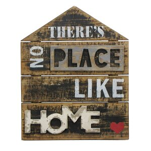 There's No Place like Home Textual Art Plaque by Wilco Home