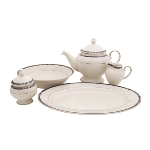 Forever Ivory China Traditional Serving 5 Piece Dinnerware Set by Shinepukur Ceramics USA, Inc.